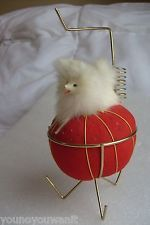 Vtg Sewing Pin Cushion Dog w Thread Scissor Holder Stand Pomeranian Cute!g