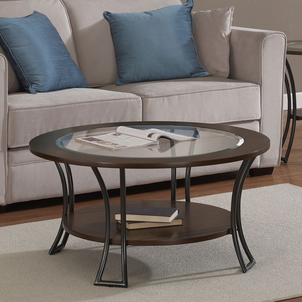 Carlisle walnut charcoal grey round coffee table overstock carlisle walnut charcoal grey round coffee table overstock shopping the best geotapseo Image collections