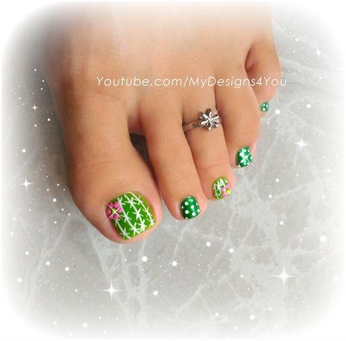 Fun Cactus Toenail Art Toenail Art Designs Cute Toe Nails Toe Nails
