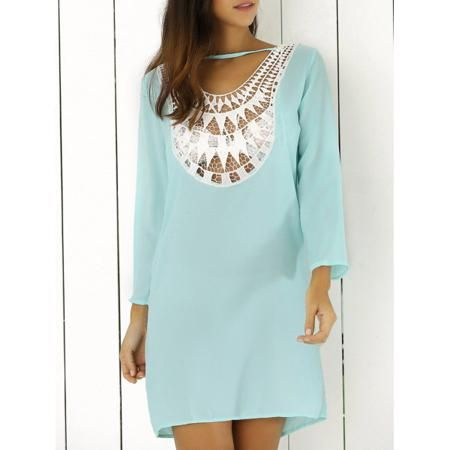 Lace Splicing Hollow Out Double-Wear Dress