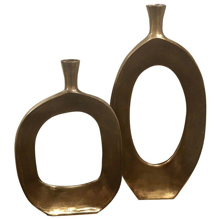 Kyler Vases Set Of 2 In 2020 Bronze Vase Vase Set Aluminum Vase
