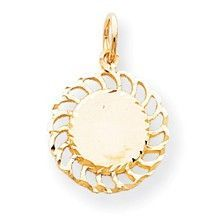 Circle with Filigree Edges Charm in 10k Yellow Gold