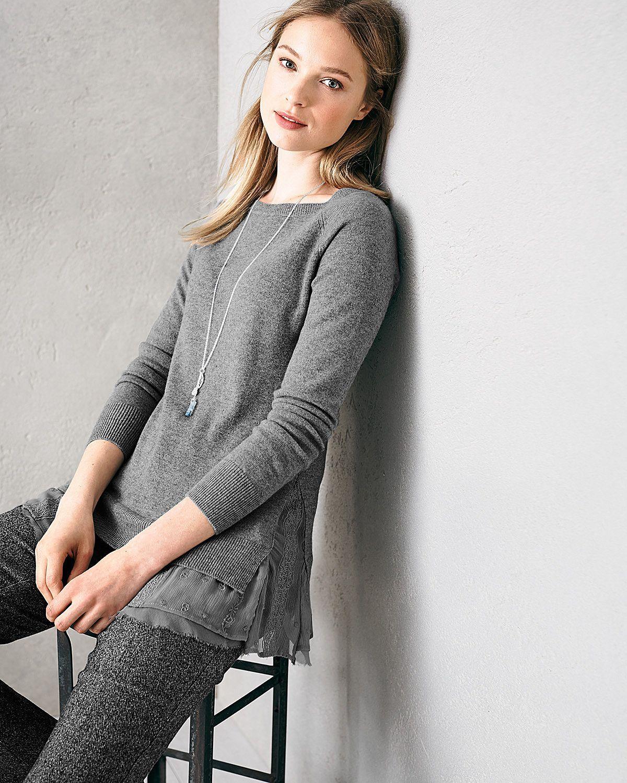 b4439b1980 Shirttail Cashmere Sweater - Garnet Hill | Grey