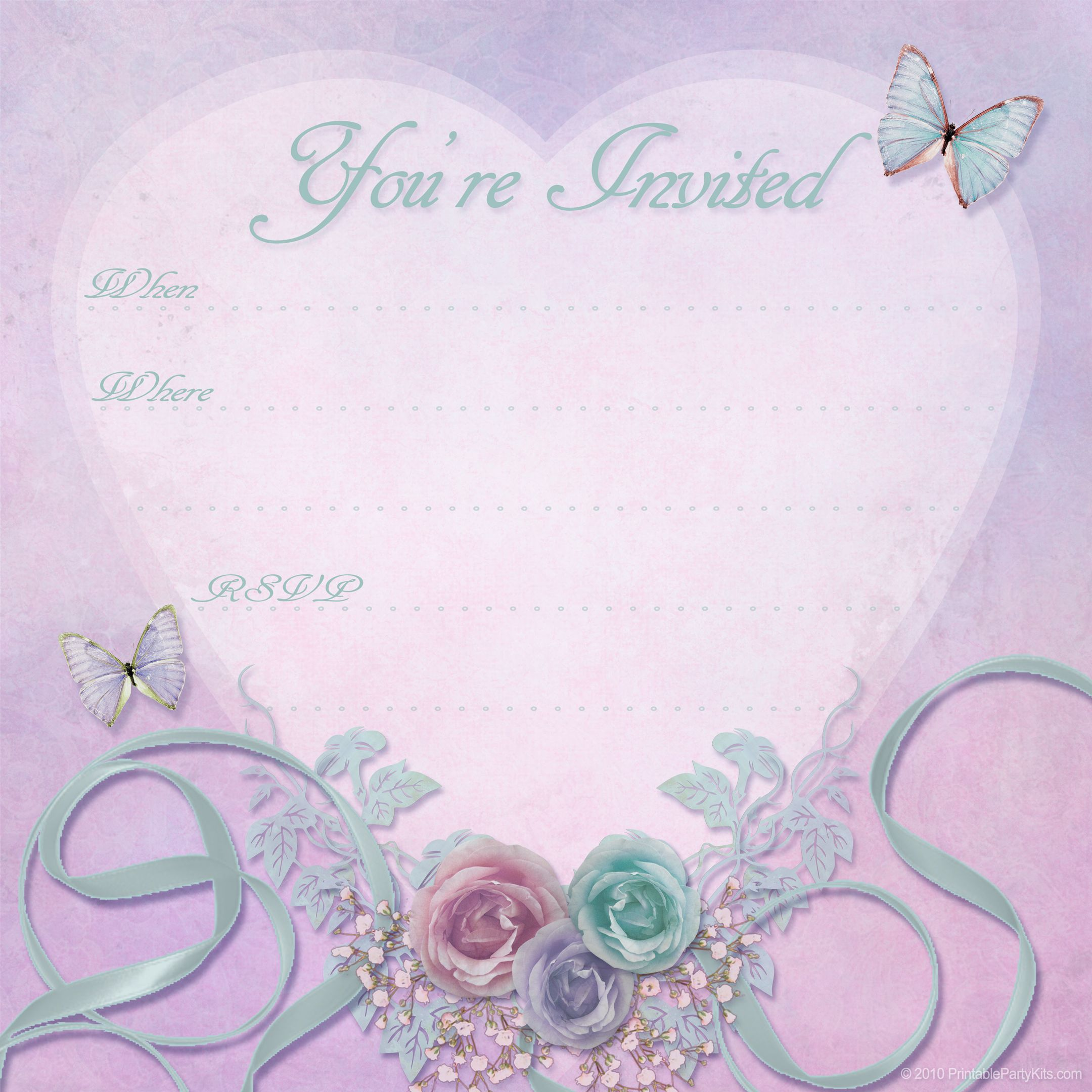 Beautiful free Valentine Party Invitation printable ...