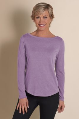 Zoey Boatneck Tee - Boatneck Long Sleeve Tee, Boat Neck T-shirt | Soft Surroundings