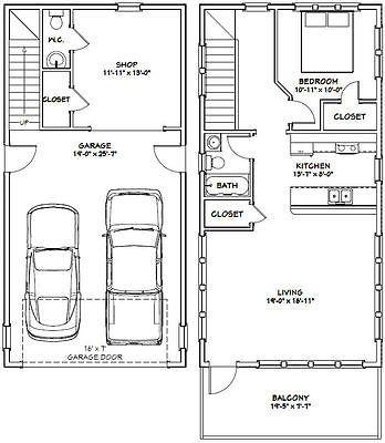 Details About 20x40 House 1 Bedroom 1 5 Bath 965 Sq Ft Pdf Floor Plan Model 7g With Images Garage Plans Garage House Plans Garage Apartment Plans