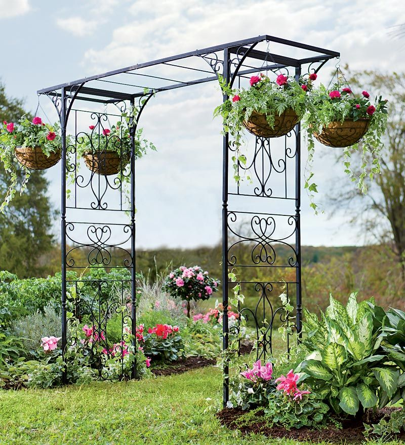 Grand Garden Arbor With Four Hanging Baskets 300 Just Arbor Or