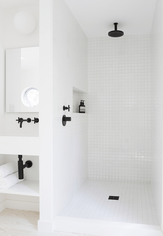 Pair It With Black White Plumbing Fixtures And Bathrooms Are A Match Made In Heaven Faucets Showerheads Add Graphic Pop Against
