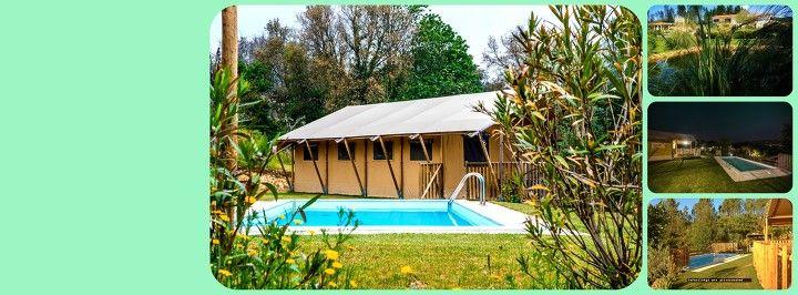 #Safarilodges en #Vakantiehuis met #Verwarmde prive #Zwembaden op #Quinta do Cascalhal in noord #Portugal.
