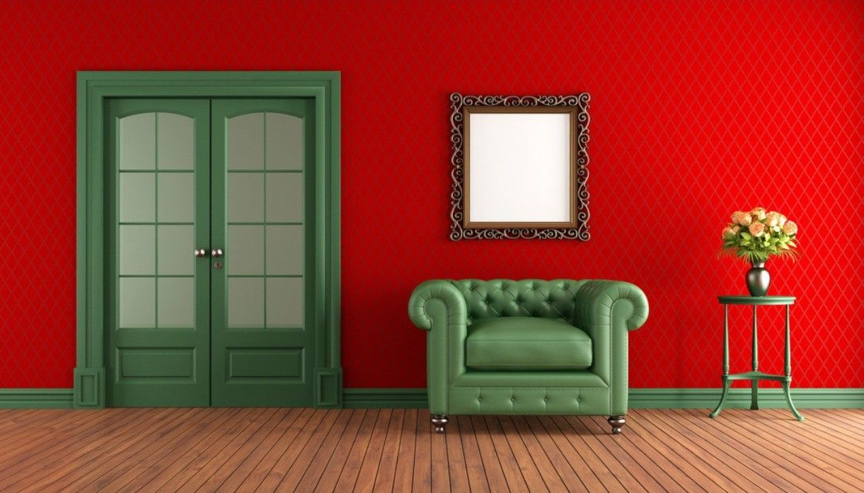 Red Walls Green Armchair In Living Room