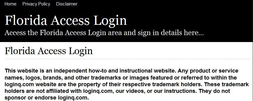 Secure Login Access The Florida Access Login Here Secure User