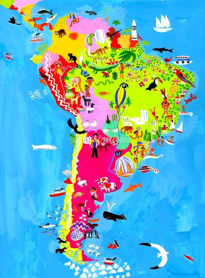 South America map illustration by Christopher Corr Pinteres