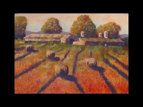 An Impressionist Style Soft Pastel Landscape Painting Of Barns And Hay Rolls Nicky Rd Farm Pastel Landscape Painting Landscape Paintings