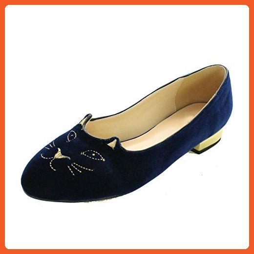 8d42f6c9845 VASHOP Women s Velvet Cartoon Cat Embroidered Smoking Slipper Flat Loafer  Shoes