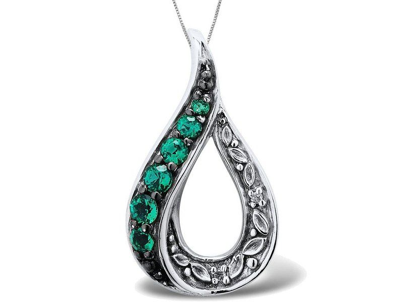 Lab created emerald necklace with diamond accent in sterling silver lab created emerald necklace with diamond accent in sterling silver with chain mozeypictures Image collections