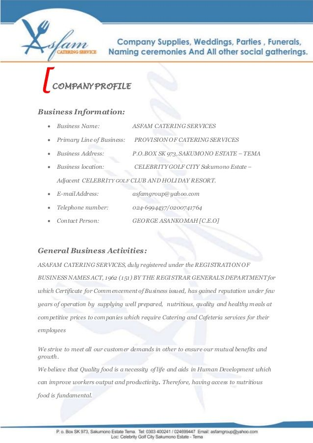 asfam catering services business proposal cups sample resume