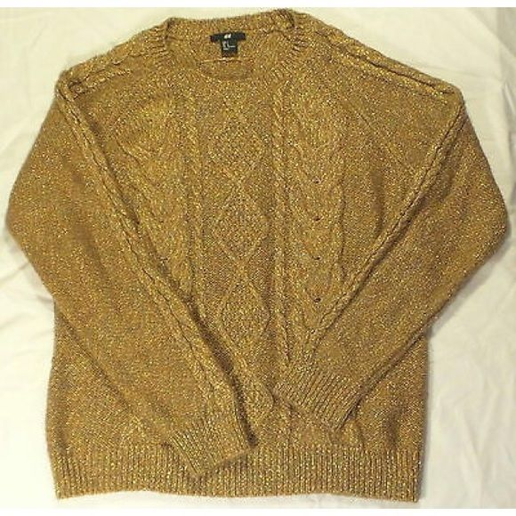 H&M Womens Gold Color Cable Knit Sweater L | Cable knit sweaters ...