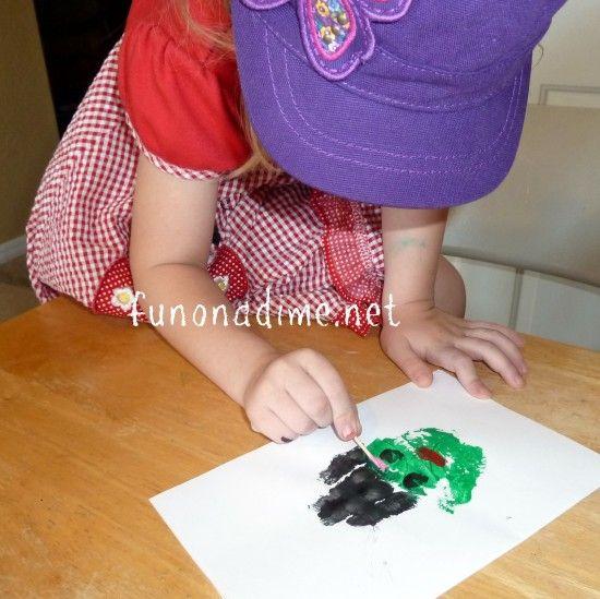 Halloween Handprint Crafts - frankenstein, pumpkins perfect for preschoolers and even us bigger kids ;-)