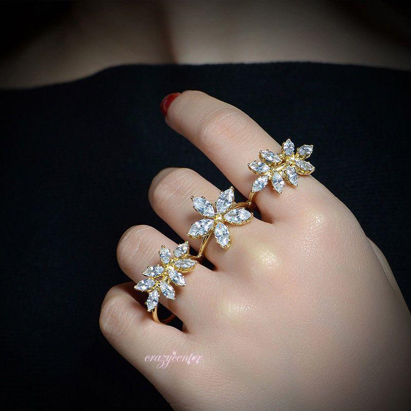 Adjustable Zircon Cluster Flower Three Finger Ring Wedding
