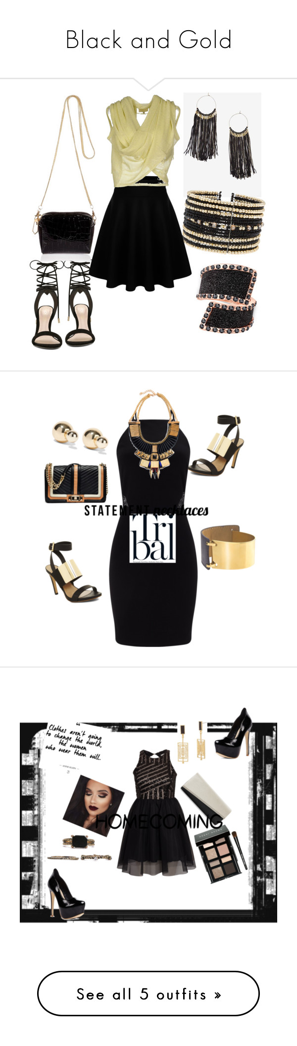 """""""Black and Gold"""" by tholliscole ❤ liked on Polyvore featuring ALDO, Eloquii, MET, GUESS, River Island, girlsnightout, BCBGMAXAZRIA, Kenneth Jay Lane, Miss Selfridge and Rebecca Minkoff"""