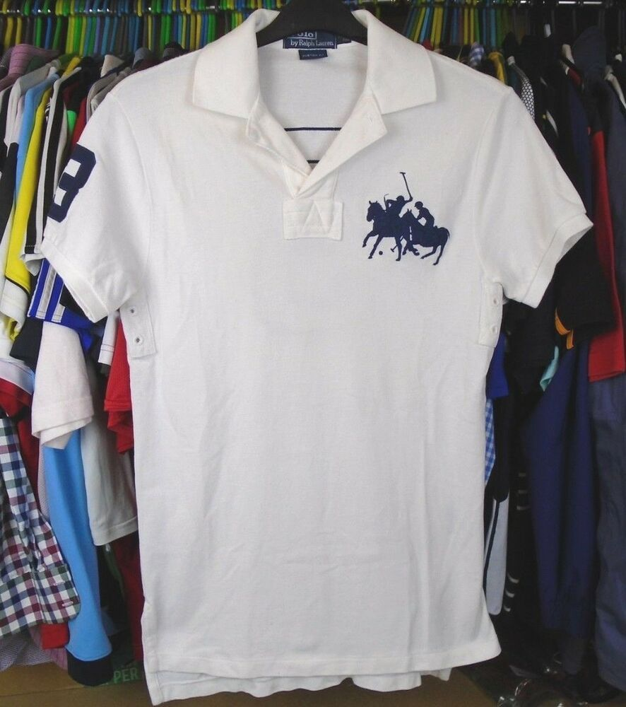 Ralph Cotton Adult Top Small Lauren Shirt Fit Polo Custom White kuZPXOi