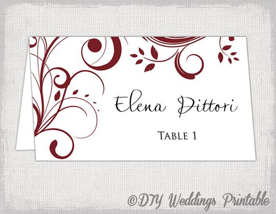 Place Card Template Burgundy Berry By Diyweddingsprintable - Wedding place card template word