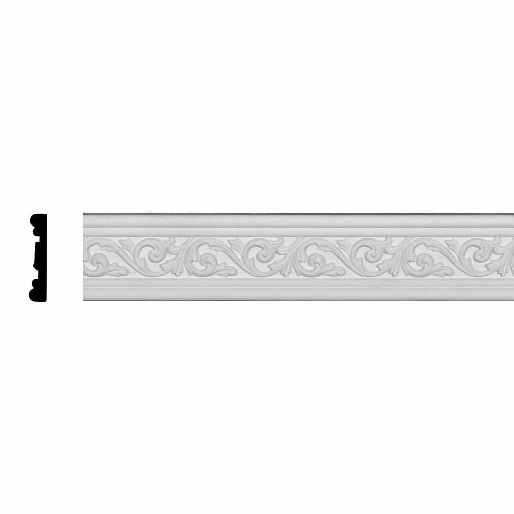 Ekena Millwork 3/4 in. x 3-5/8 in. x 94-1/2 in. Polyurethane Antonio Chair Rail Moulding, White