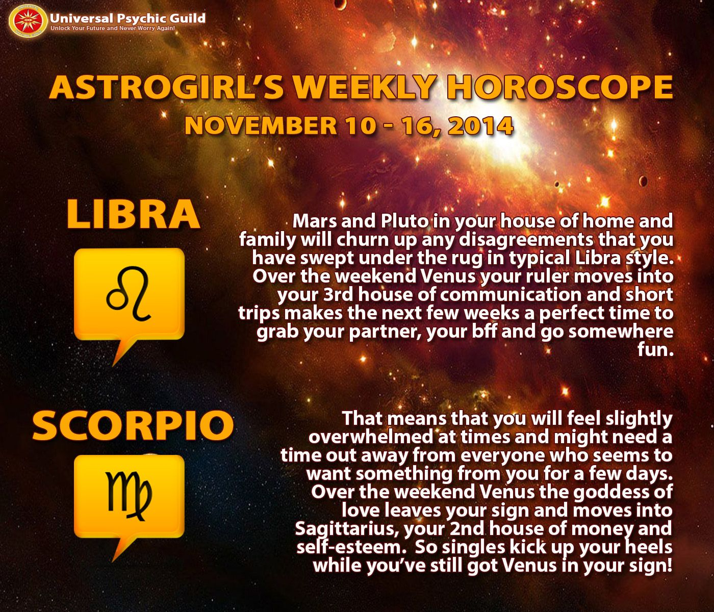 Astrology Updates Weekly Horoscopes For Zodiacsigns Libra And Scorpio November 10 16 2014 Aquarius Weekly Horoscope Weekly Horoscope Libra Horoscope