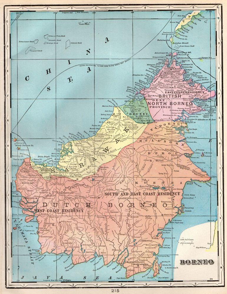 1902 Antique Borneo Map Indonesia Map Vintage Map Of Borneo 4821 Borneo Vintage Map Map
