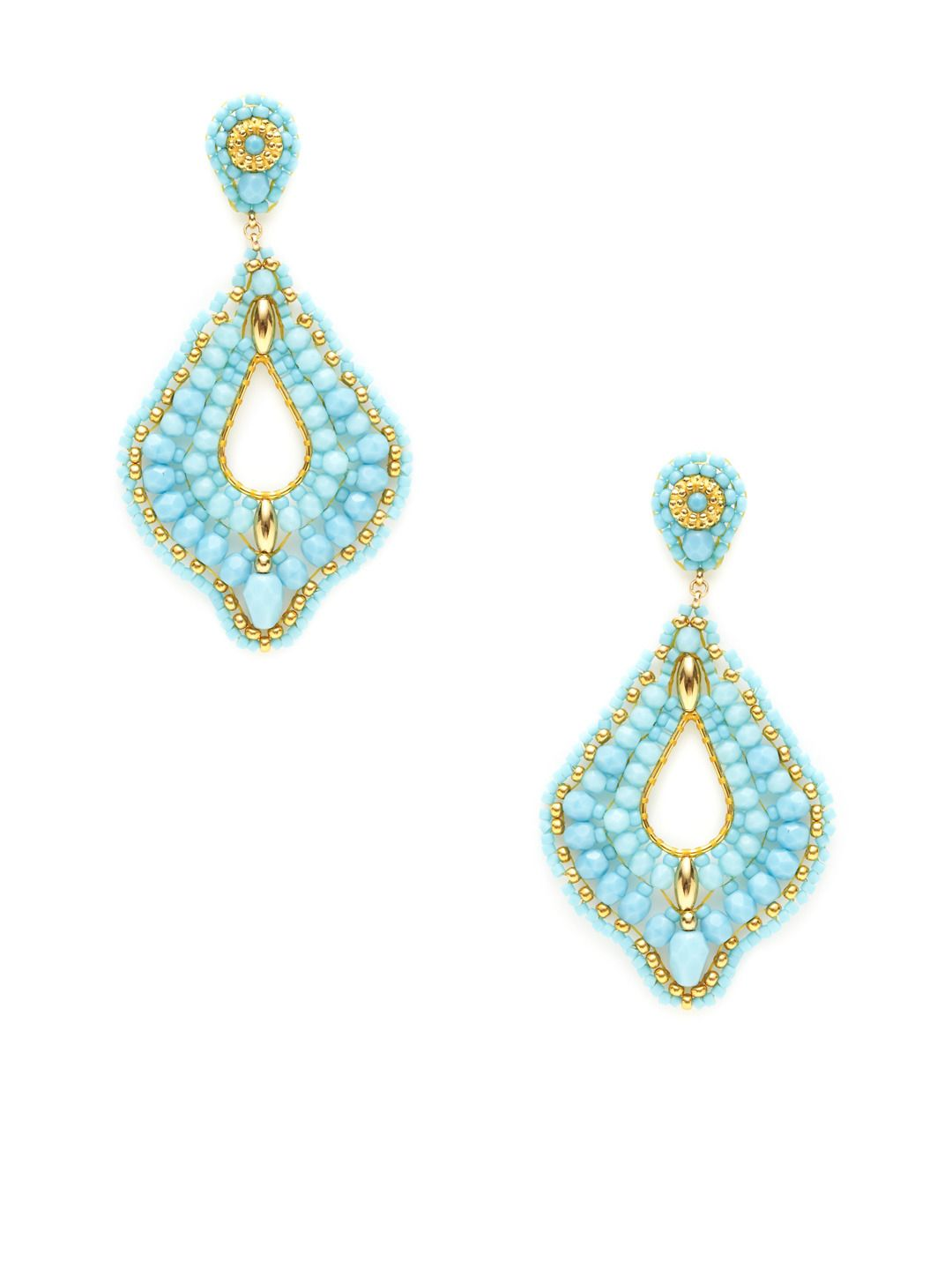 """$335      149  Turquoise Bead Open Teardrop Earrings by Miguel Ases  14K yellow gold fill and 18K yellow gold-plated brass open teardrop-shaped earrings with turquoise, Swarovki crystal, and Miyuki bead details  Post back closure Measurements: 2¾"""" long, 1½"""" at widest point"""