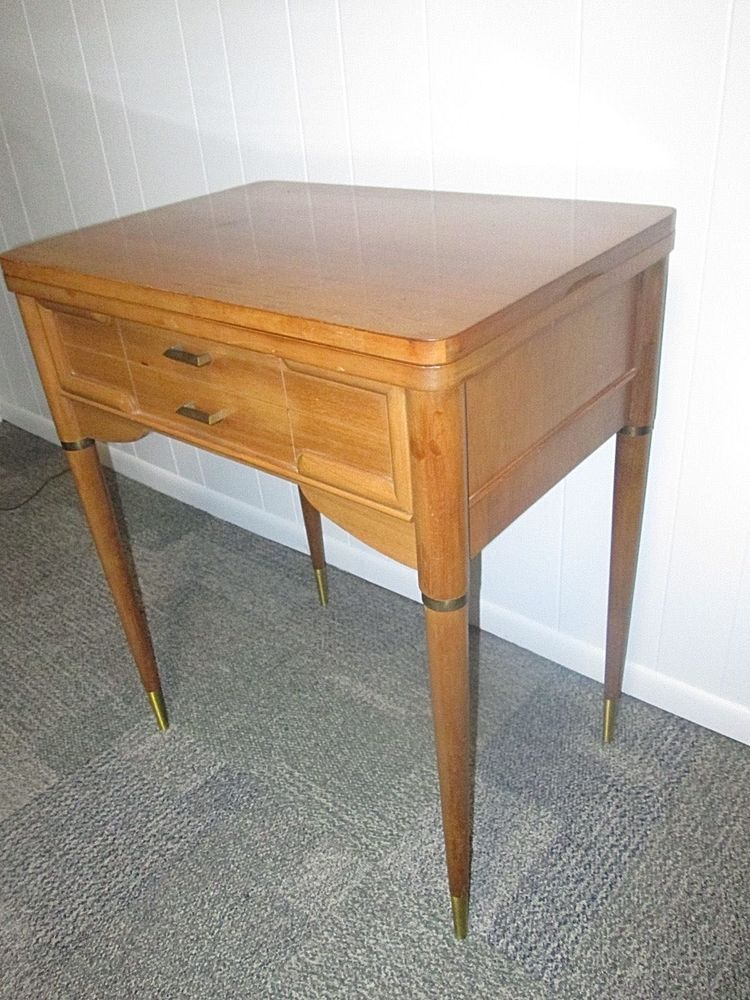 details about mid century modern necchi sewing machine cabinet table rh pinterest cl