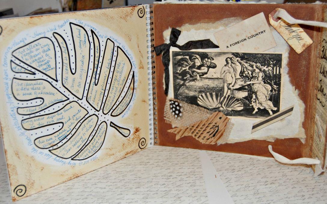 Tammy's art journal inside back cover black white and tan