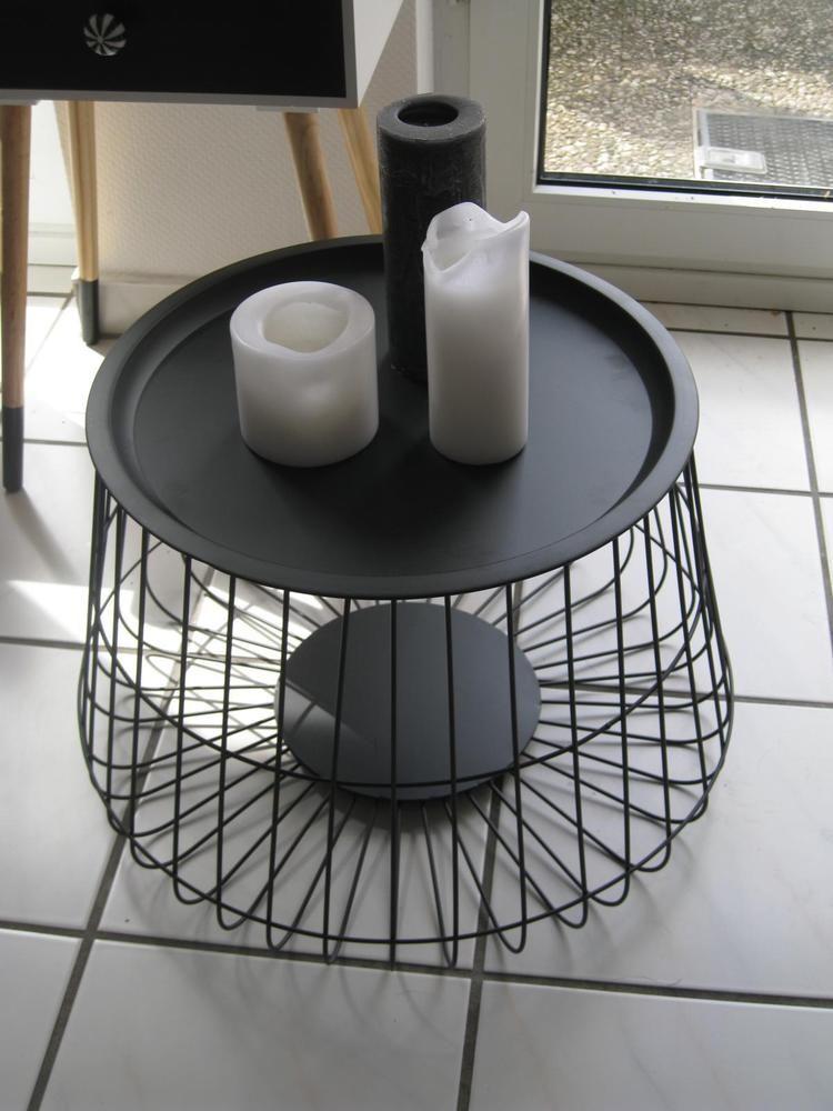Designer Tisch Beistelltisch Metall Mit Deckel Schwarz Ø