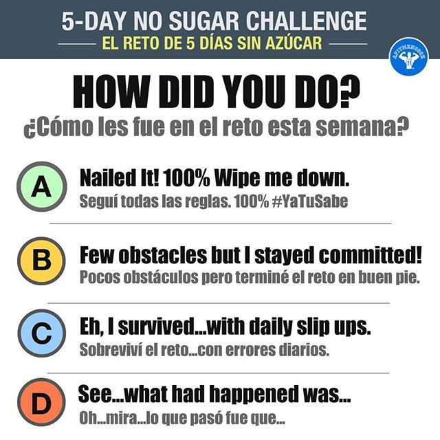 Today we finish Day 5 of the #NoSugar challenge, just in time for the July 4th holiday weekend! Hopefully you found new ways to find natural solutions for sweet cravings. I do NOT recommend binging this weekend, but do enjoy yourself. Which answer BEST represents how you did AND name 1 thing you learned! Boom. (traducción abajo) My answer: ~A. I learned that by drinking more green juices I can feel full of energy and my muscles. I missed my BCAAs though! Lol Hoy terminamos el día 5 del reto…