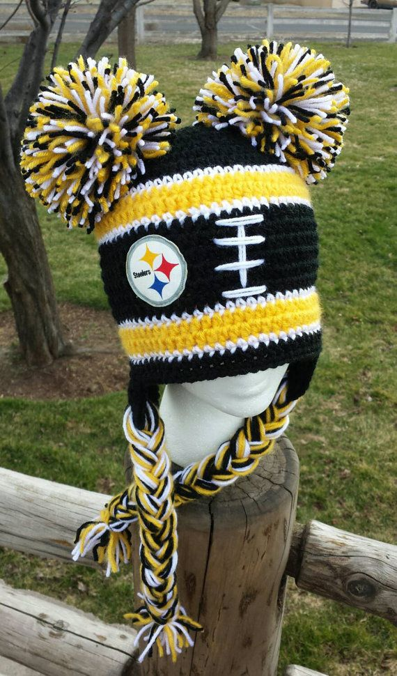 Pittsburgh Steelers Inspired Crochet Hat Steelers by AtTheLilyPond Gorritas  Tejidas 7457b411a44