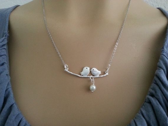 Silver Love Bird Necklace by sonudesigns on Etsy