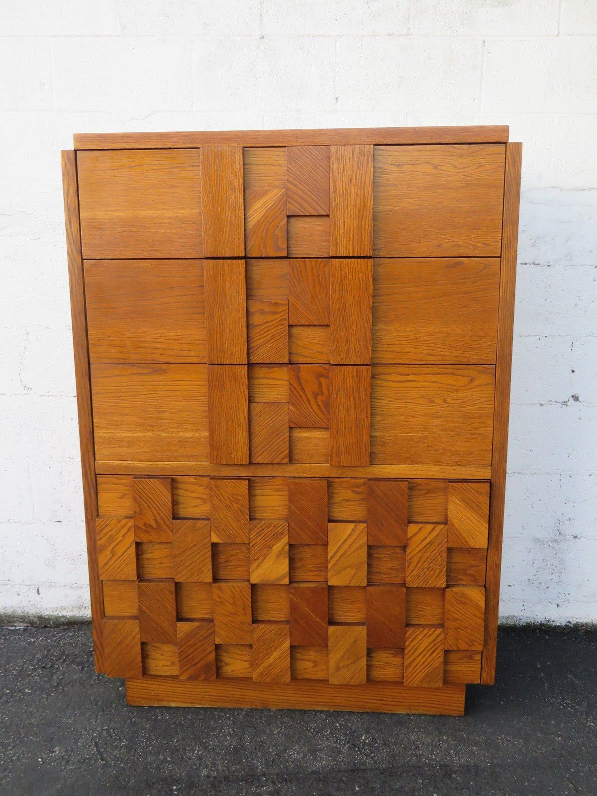 Brutalist cubist mid century modern tall chest of drawers