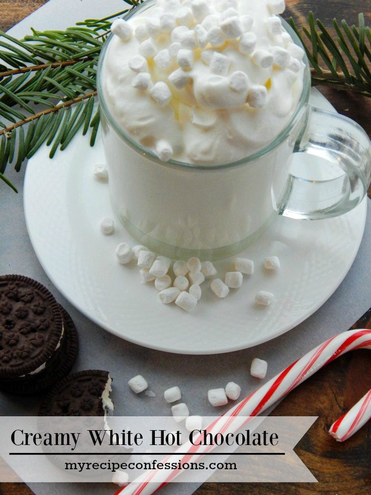 Creamy White Hot Chocolate #hotchocolaterecipe