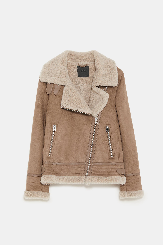 684df8ba Contrasting faux suede jacket   style   Suede jacket, Winter jackets ...