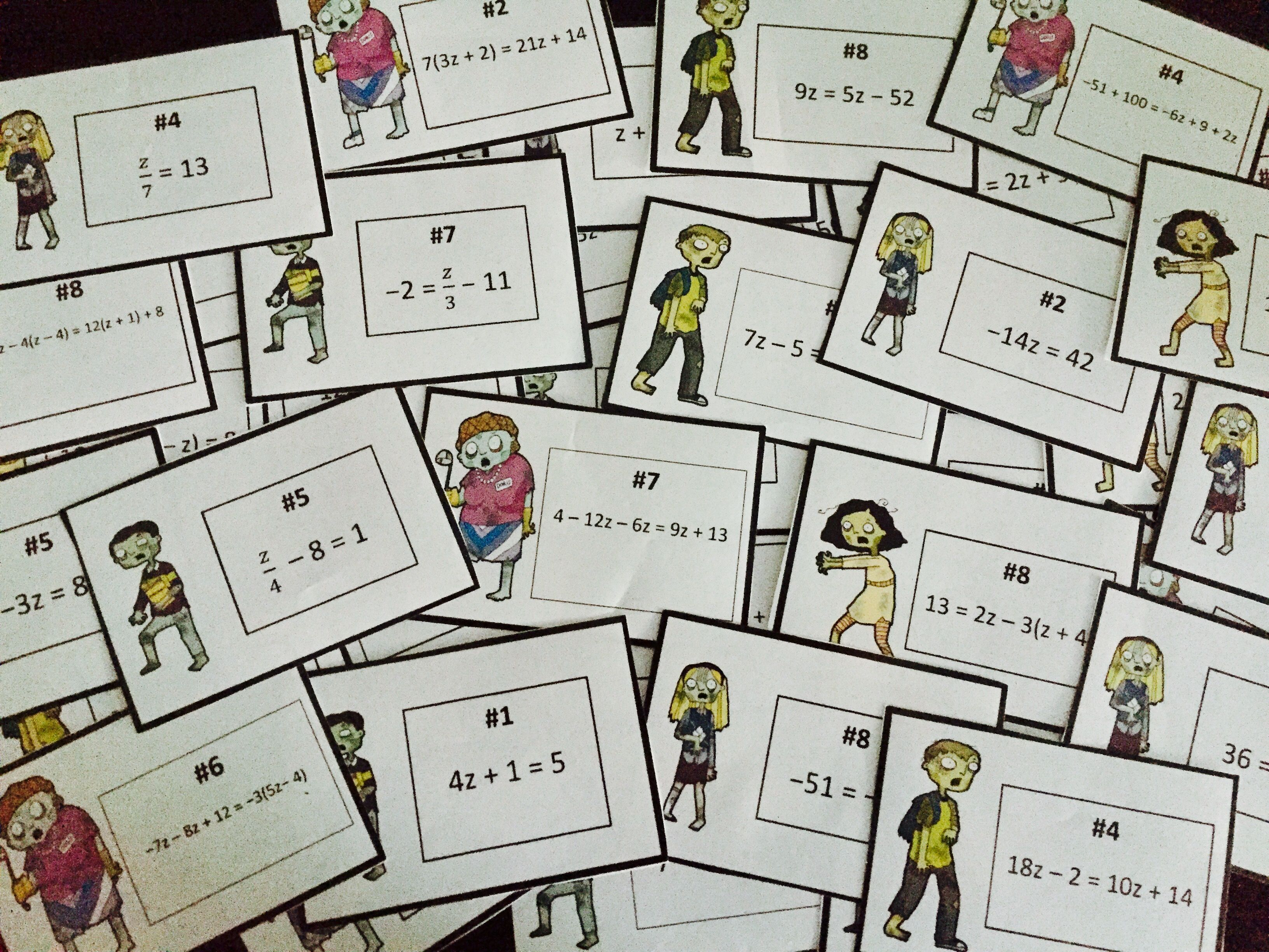 Equations Task Cards Activity Fun Zombie Hunt Common Core 8 Ee 7 Task Cards Equations Like Terms [ 2448 x 3264 Pixel ]