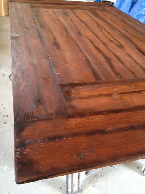 Distressed English Walnut table top, with criss-cross base. One of my favorite tables ever.