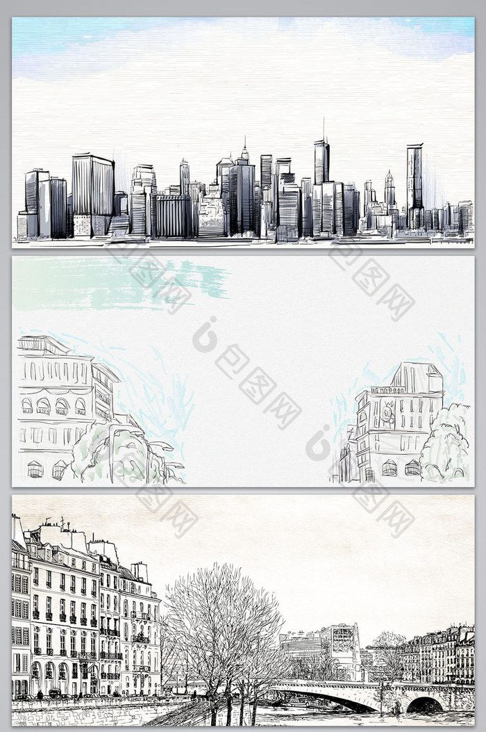 Vector hand drawn sketch line drawing city architecture background - background sketches