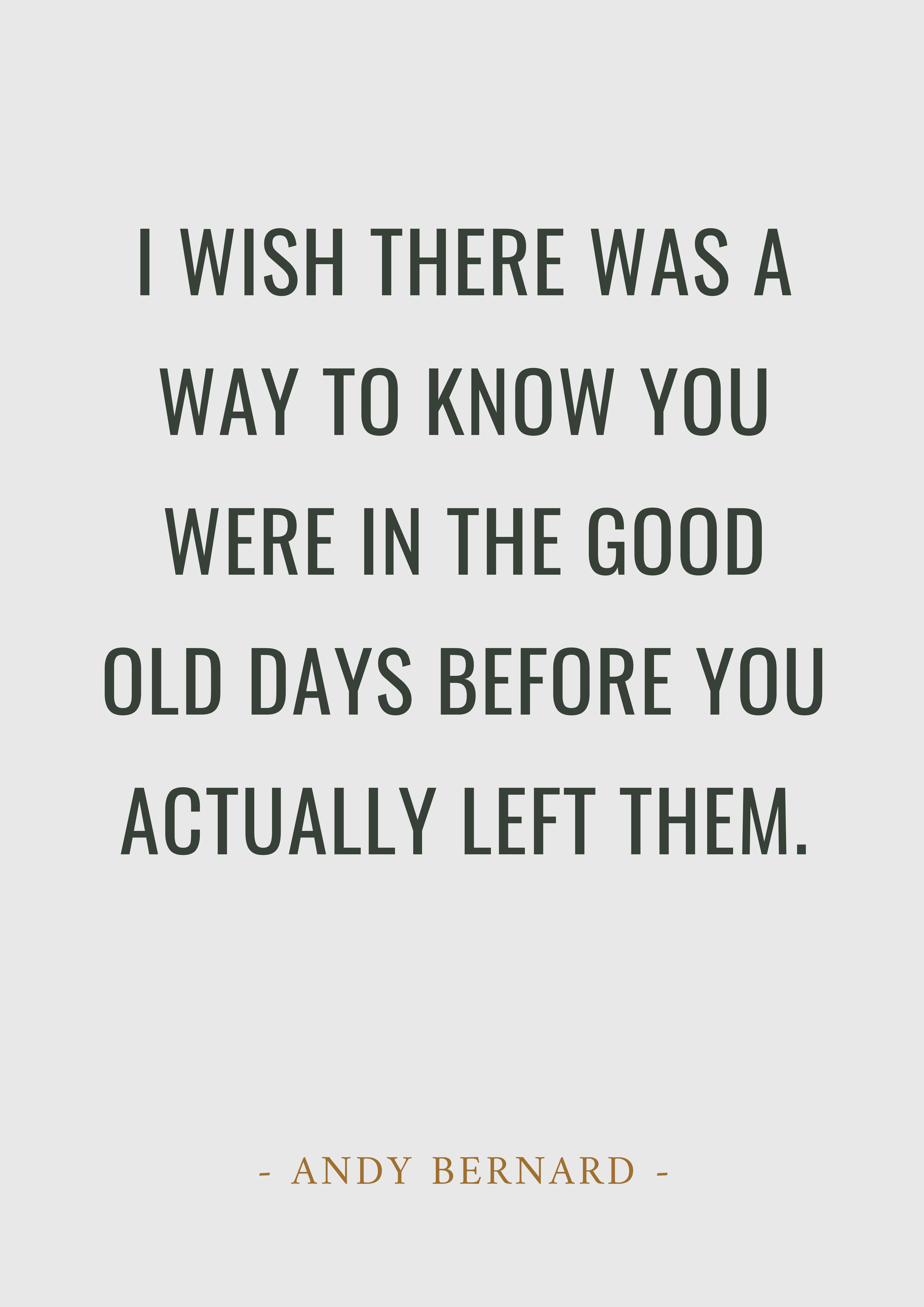 """""""I wish there was a way to know you were in the good old"""