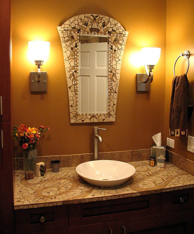 Mosaic bathroom by chris zonta mirror and sink top are for Glass mirrors for bathrooms