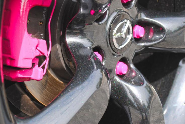 Pink Lugnuts And Pink Calipers Mazda Pinterest Black Glitter Girly Car Car Accessories For Girls Car Accessories For Guys