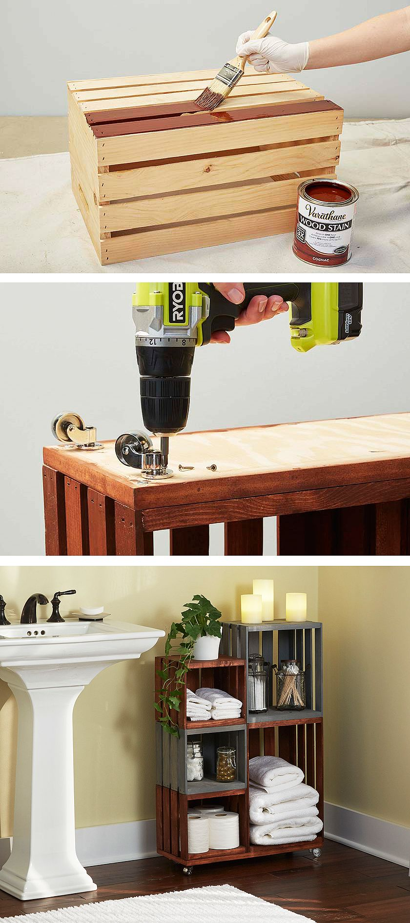 Diy bathroom storage shelves made from wooden crates organization
