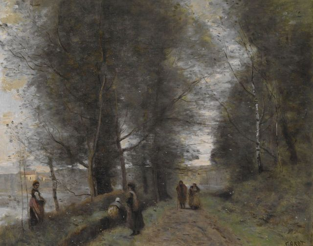 Ville d'Avray, Woodland Path Bordering the Pond, 1872, by Jean-Baptiste-Camille Corot