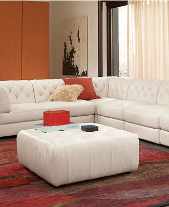 Rosario White Tufted Leather Sectional Couch Homes And