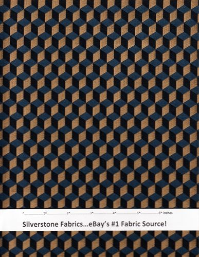 Luna Upholstery Fabric Roman Blocks Blue Black Tan Cotton Wool Polyester Nylon By The Yard Ex6
