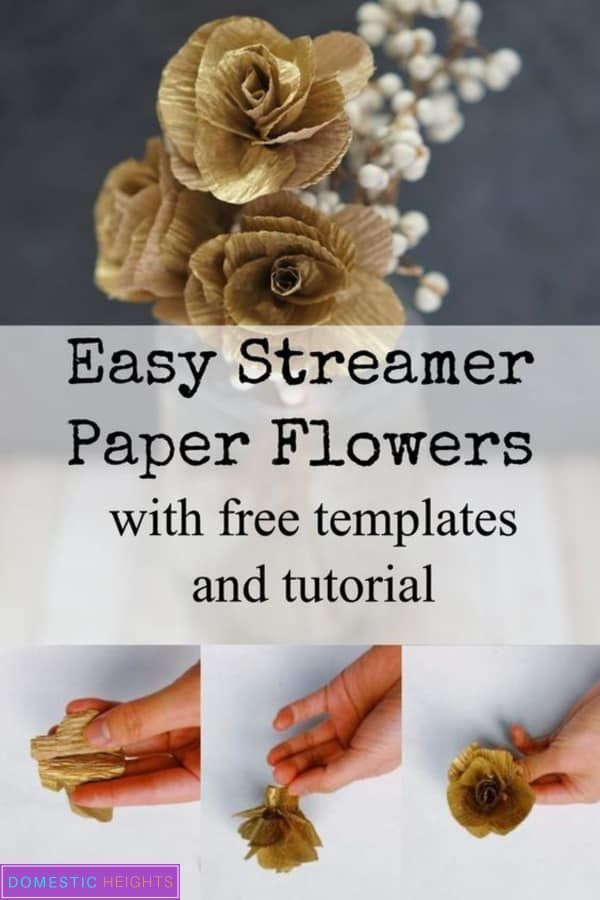Easy Crepe Paper Streamer Flowers - DOMESTIC HEIGHTS #paperflowertutorial DIY paper flower tutorial and tempalte, easy streamer crepe paper flower tutorial with free templates #tissuepaperflowers Easy Crepe Paper Streamer Flowers - DOMESTIC HEIGHTS #paperflowertutorial DIY paper flower tutorial and tempalte, easy streamer crepe paper flower tutorial with free templates #paperflowerswedding
